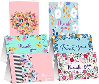 48 Pack Thank You Cards- Floral Design Thank You Cards Bulk - Blank Thank You Notes Greeting Cards for Wedding, Baby Shower, Bridal Shower, 4 x 6 inch Floral Thank U Cards with Adhesive Envelopes
