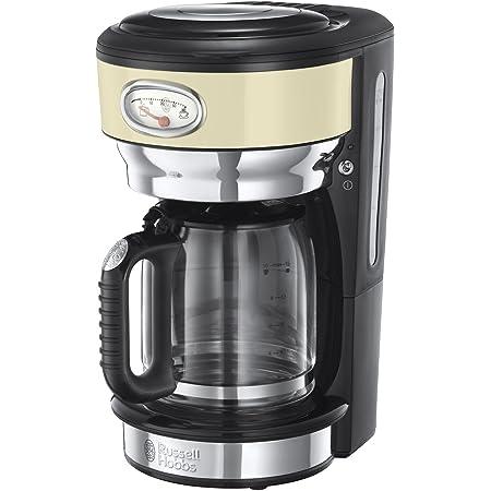 Russell Hobbs Machine à Café, Cafetière Filtre 1,25L 1000W, Rapide, Plaque Chaude, Design Vintage - Crème 21702-56 Retro
