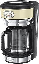Russell Hobbs Retro Vintage Cream kaffebryggare, upp till 10 koppar, 1.25l glaskanna, bryggnings- & varmhållningsindikator...