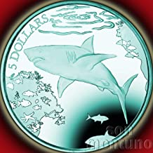 THE POWERFUL GREAT WHITE SHARK - Turquoise Titanium 5 Dollar Coin in Box with Certificate of Authenticity - 2016 British Virgin Islands $5