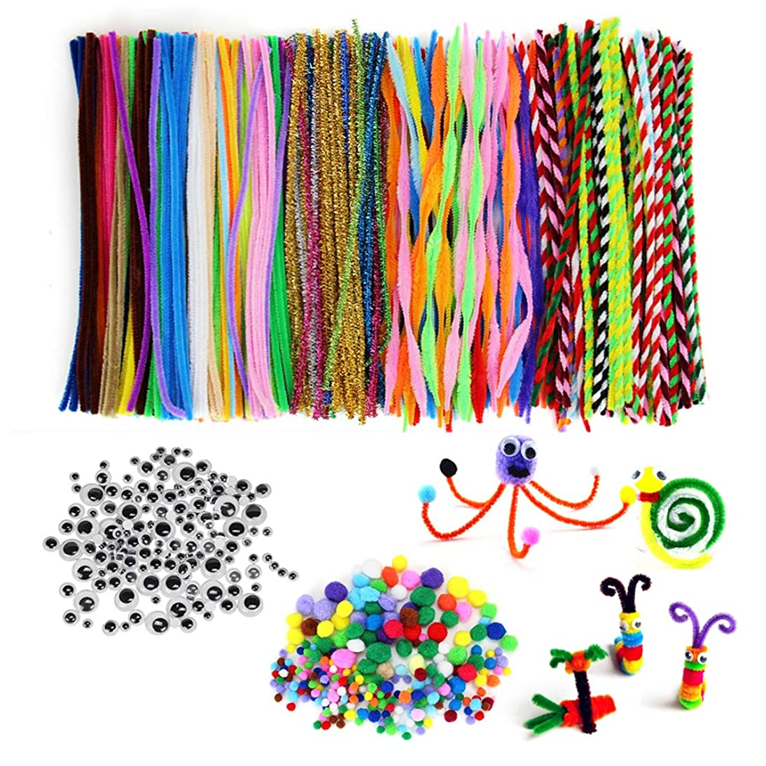 N&T NIETING 950 Pieces Pipe Cleaners Set with Different Style Pipe Cleaners, 3 Size Self-Adhesive Wiggle Googly Eyes, Pony Beads for Craft DIY Art Supplies (950Pcs)