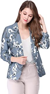 Allegra K Women's Notched Lapel Button Front Floral Blazer