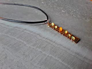Fire Opal Wire Wrapped Wire Wrapped Boho Style Copper and Gold Vertical Bar Pendant Necklace