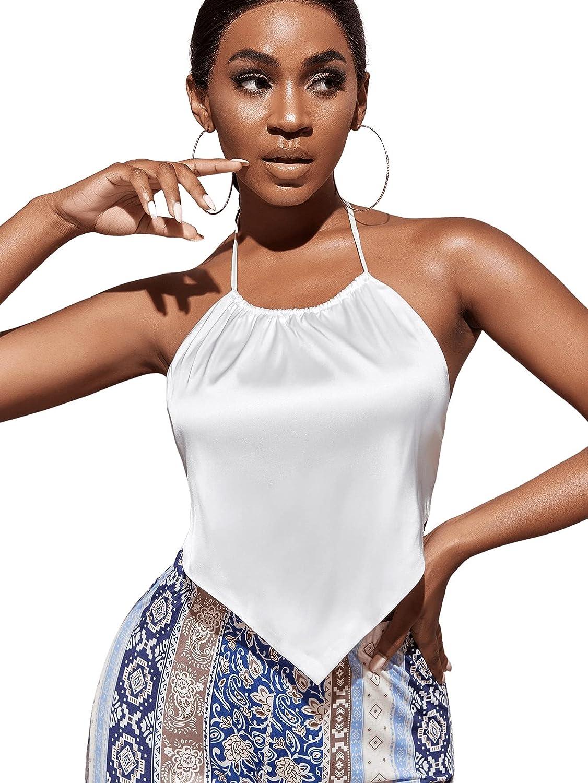 Milumia Women Open Back Satin Halter Crop Top Asymmetrical Hem Self Tie Bandana Cami