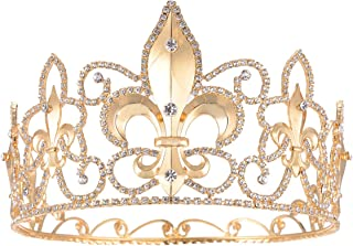 FF Full Round Man Tiara Fleur De Lis King's Tall Pageant Crown Gold Plated