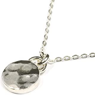 Scutum Craft 925 Sterling Silver Hammered 9mm Disc Pendant 18