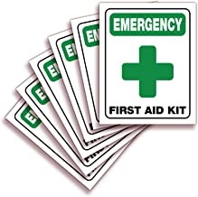 Emergency First Aid Kit Signs Stickers for Home, Schools & Business – 6 Pack 4x5 Inch – Premium Self-Adhesive Vinyl, Laminated UV, Weather, Scratch, Water and Fade Resistance, Indoor & Outdoor