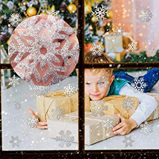 CCINEE 48pcs Glitter Snowflake Clings Window Film Glass Sticker Static Decal for Christmas and New Year Decoration