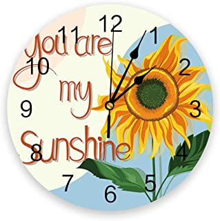Infinidesign Sunflowers PVC Wall Clock, Silent Non-Ticking Round Clock, Decorative Wall Clocks for Home Living Room Kitche...
