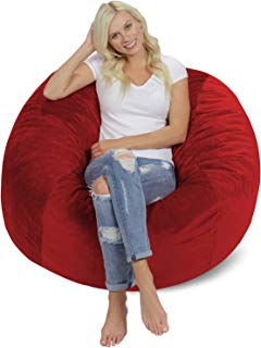 Chill Sack Bean Bag Chair: Giant 4' Memory Foam Furniture Bean Bag - Big Sofa with Soft Micro Fiber Cover - Red Pebble