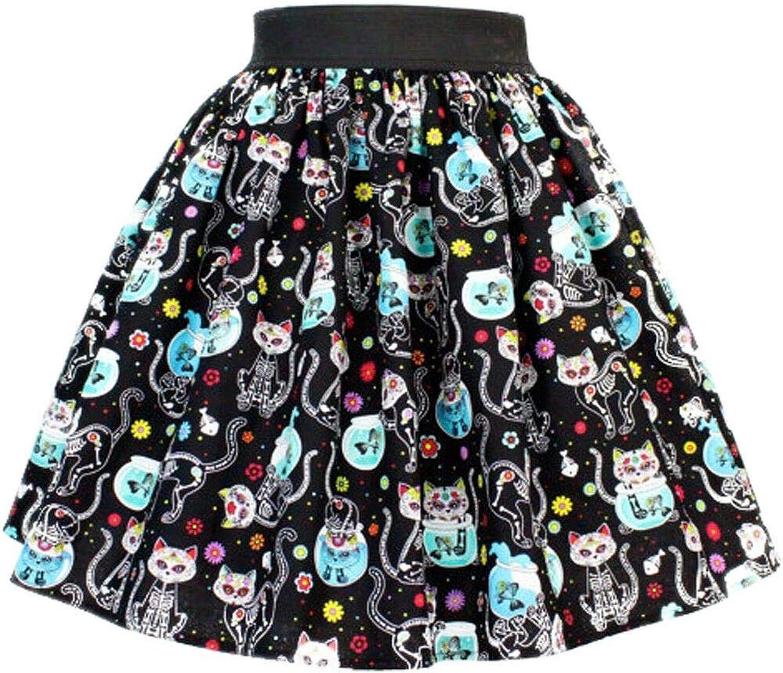 Hemet Day of the Dead Kitty Pleated Skirt Black