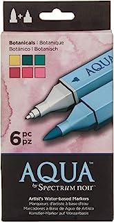 Spectrum Noir Aqua Artist's Water Based Dual Nib Marker Colouring Pens, Earth, Pack of 6, 19 x 9.6 x 2.1 cm