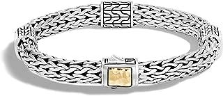 John Hardy Women's Classic Chain 7.5mm Hammered Gold & Silver Medium Four-Station Bracelet, Size M BG