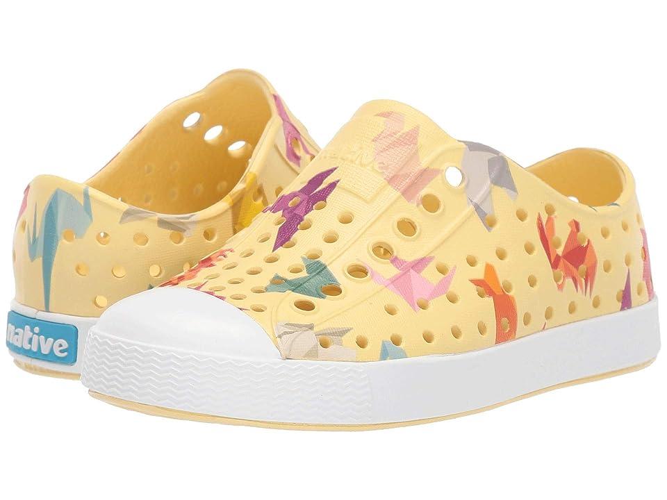 Native Kids Shoes Jefferson Print (Toddler/Little Kid) (Gone Bananas Yellow/Shell White/Origami) Kid