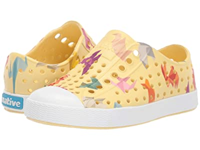 Native Kids Shoes Jefferson Print (Toddler/Little Kid) (Gone Bananas Yellow/Shell White/Origami) Kid