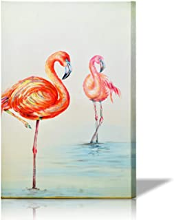 Mozing Wall art Oil Paintings 100% Hand Painted Art Flamingo On Canvas Modern Animals Artwork Decorative Pictures For Home Living Room Bedroom Office(11.8x15.7In)