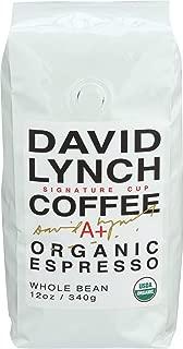 David Lynch Coffee, Coffee Espresso Whole Bean Organic, 12 Ounce