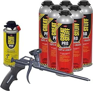 Dow Great Stuff PRO Gaps and Cracks 30 oz cans (6) + Teflon Coated AWF Pro Foam Gun (1) + Dow Foam Cleaner (1)