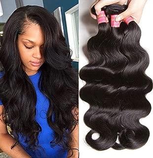 Klaiyi Hair Malaysian Body Wave Hair 3 Bundles Good Quality Grade 10A Raw Virgin Hair Weave Human Hair Extensions Natural Hair Color 95-100g/pc (8 10 12Inch)