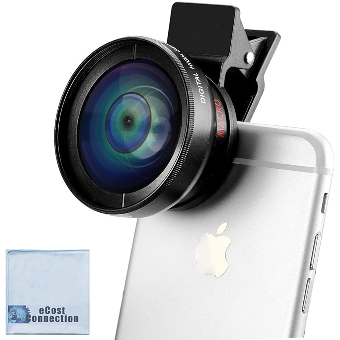 2-in-1 Professional Universal Smartphone HD Camera Lens Kit (Super Wide Angle & Macro Lens) for iPhones 8 7, 7 Plus, 6s, 6s Plus, SE, 6 Plus, 6, 5, 5S, 5C + eCostConnection Microfiber Cloth