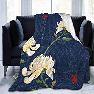"""Fleece Blanket 50"""" x 60""""-Waves Lines Chrysanthemum Home Flannel Fleece Soft Warm Plush Throw Blanket for Bed/Couch/Sofa/Office/Camping"""