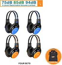 4 Pack of Car Kids Headphones with 3 Levels Volume Limited, Wireless DVD Headphones, 2 Channel IR Wireless Car Headphones, Infrared Wireless Headsets for Vehicle, Blue and Orange