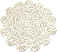 KEPSWET 4PC European 12 Inch Round Beige Coaster Cotton Lace Crochet Table Placemats Dinner Cloth Cup Pad Value Pack
