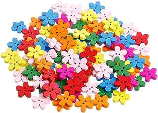 Misright 100 botões de madeira, botões de flor mistos, 2 furos, botões decorativos vintage sortidos para artesanato de cos...