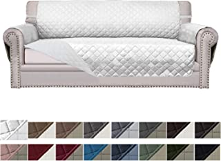 Easy-Going Sofa Slipcover Reversible Sofa Cover Furniture Protector Couch Cover Elastic Straps PetsKidsDogCat(Oversized Sofa,White/White)