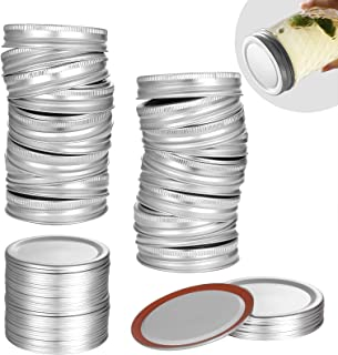 24 Count Canning Lids + 24 Count Bands - Regular Mouth Mason Jar Canning Lids, Split-Type Lids Leak Proof Secure, Reusable...