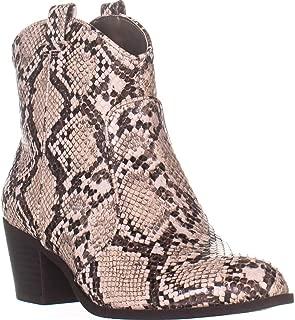 SC35 Mykenna Block Heel Western Boots, White Snake