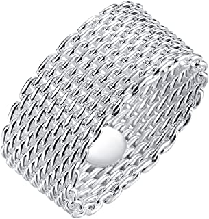 Jewelry Womens 925 Sterling Silver Plated Fashion Weave Braided Mesh Korean Style Ring Wedding Band