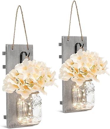 Chen Mason Jar Sconces LED - Fairy Lights,Vintage Wrought Iron Hooks, Silk Hydrangea Flower LED Strip Lights Design Home Kitchen Decoration Set of 2