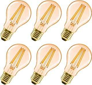 6x Bombillas Vintage LED E27 6.5W Equivalente a 51W, Bombilla Edison Retro Casquillo Gordo, Blanco Cálido 2500K, Lámpara A...