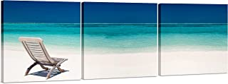Canvas Wall Art Decor - 24x24 3 Piece Set (Total 24x72 inch) - Relaxing on the Ocean/Beach - Large Decorative & Modern Multi Panel Split Prints for Dining & Living Room, Kitchen, Bedroom & Office