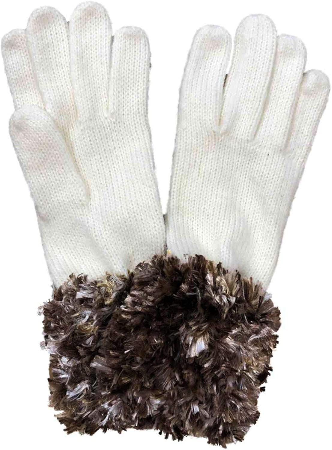 Fownes Womens Ivory & Brown Fuzzy Yarn Knit Gloves