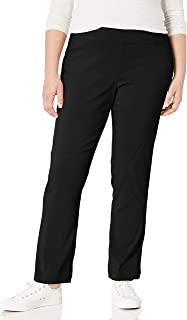 SLIM-SATION Women's Plus-Size Pull-On Straight-Leg Pant,Black,20W