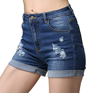 High Waist Frayed Raw/Folded Hem Denim Shorts for Women...