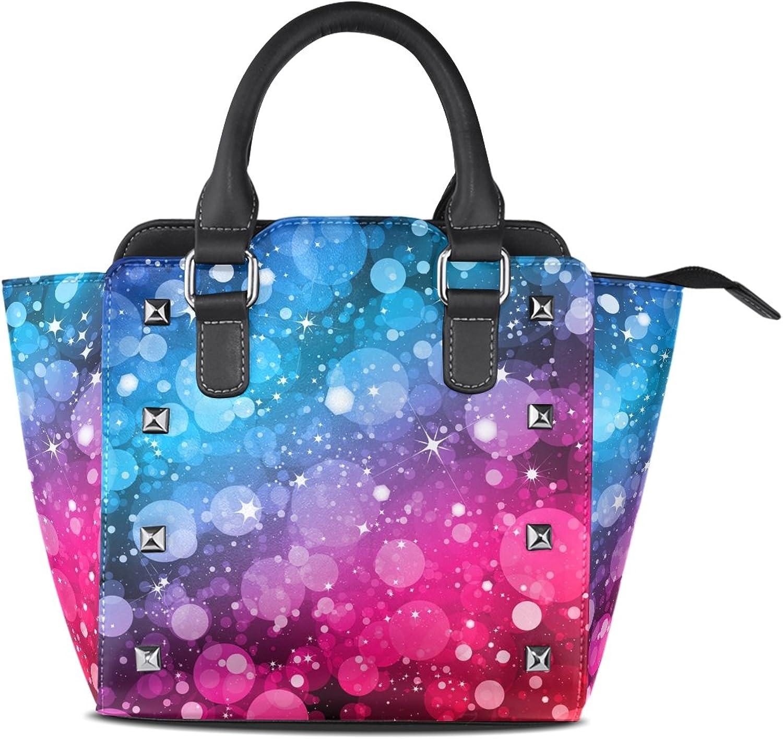 My Little Nest Women's Top Handle Satchel Handbag colorful Gradient and Sparkle Stars Ladies PU Leather Shoulder Bag Crossbody Bag