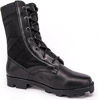WIDEWAY Men's Military Jungle Boots Full Grain Leather Speedlace Desert Boots Combat Outdoor Work Water Resistant Boots