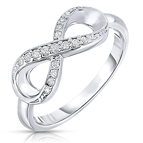 0cb553354 Tilo Jewelry 925 Sterling Silver Forever Infinity Ring with CZ