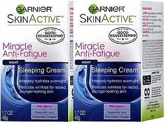 Garnier SkinActive Miracle Anti-Fatigue Night Sleeping Cream, Wild Berry, 1.7 oz (Pack of 2)