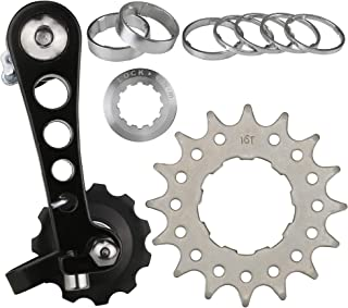 CyclingDeal Bike Single Speed Aluminum Chain Tensioner and Kit Packages for Road Bike and MTB