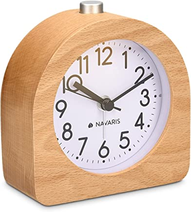 Navaris Analogue Wooden Alarm Clock - Retro Table Clock with Half Round Design Snooze Function and Alarm Face Light - Natural Wood in Light Brown