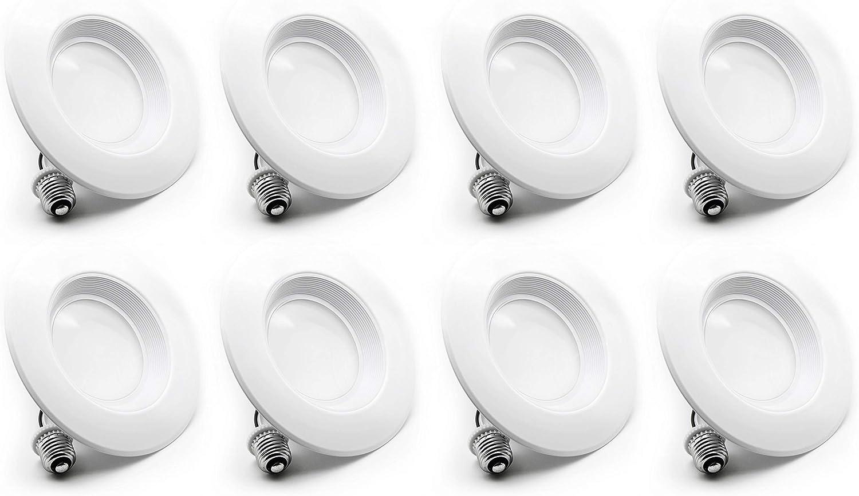 8 Pack Bioluz LED 5    6-inch 75 Watt Uses 12W 90 CRI Dimmable LED Retrofit Recessed Lighting Fixture - 3000K LED Ceiling Light 840 Lumen Soft White UL Listed JA8 CEC 2016 Title 20 (Beveled Trim)