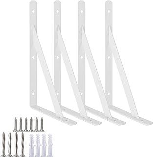 Escuadras en ángulo recto para estantes muy resistentes para montar en la pared blanco