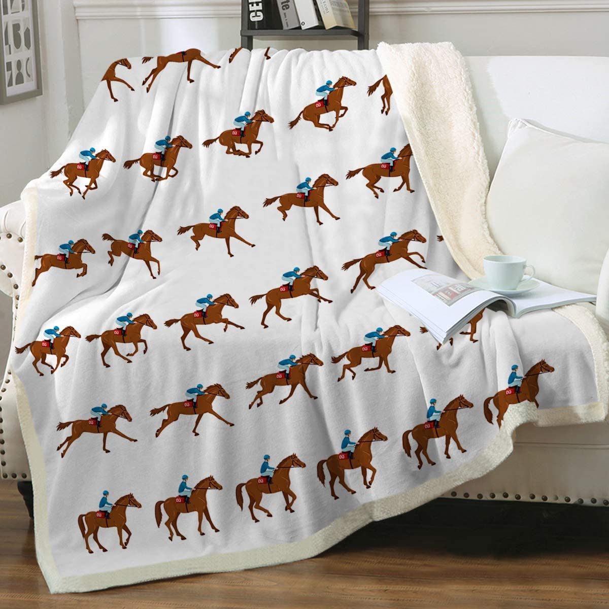 60x80 Sleepwish Horse Sherpa Fleece Blanket Animal Vintage Plush Throw Blanket Fuzzy Soft Blanket Black and White Running Horses Lightweight Cozy Plush Bedspreads for Kids and Adults Twin
