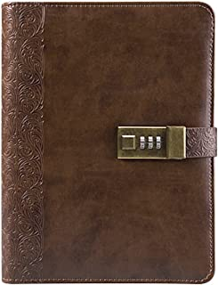 """Business Binder Journal With Combination Lock A5, 9"""" X 6.7"""", Excutive Diary With Passcode PU Leather Is A Refillable Leather Journal (Coffee Like)"""