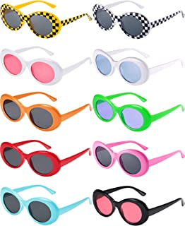 10 Pairs Retro Clout Oval Goggles Mod Thick Frame Round Lens Sunglasses 10 Colors Women Men Girl Boy Sunglasses with 10 Lens Cloth