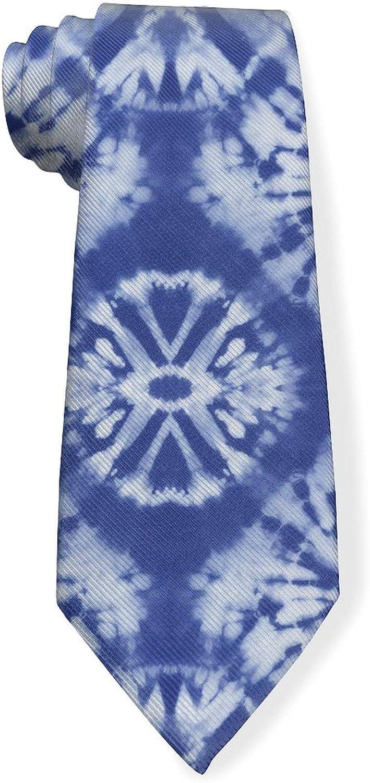 Abstract Indigo Tie Dyed Mens Classic Color Slim Tie, Men's Neckties, Fashion Boys Cravats